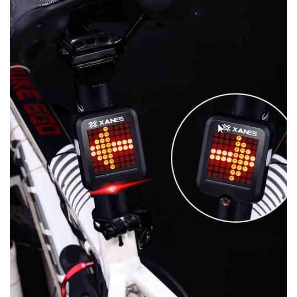 Πίσω φως ποδηλάτου (επαναφορτ.) με αυτόματη ένδειξη στροφής ανάλογα την κλήση του ποδηλ. + laser