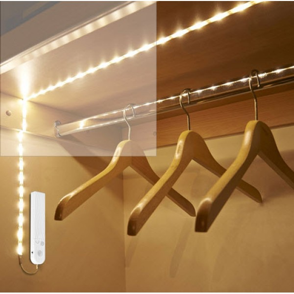 Led φως 1 μέτρο ταινία με ανιχνευτή κίνησης αυτόνομο με μπαταρίες LED (για ντουλάπα, σκάλες, ντουλάπια  κ.α.)