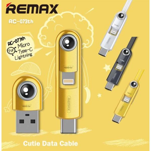 Καλώδιο Φόρτισης Δεδομένων Remax Cutie 3 σε 1 Lightning Type C Micro USB