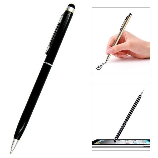 Γραφίδα στυλό με πενάκι για οθόνες αφής - Μαύρο - Ασημένιο
